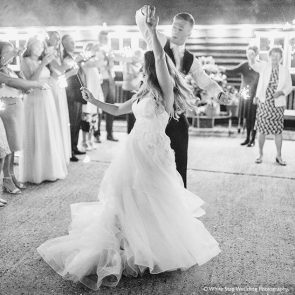 The newlyweds enjoy their first dance at Upwaltham Barns country wedding venue