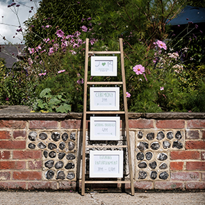 Wedding signage outside of Upwaltham Barns