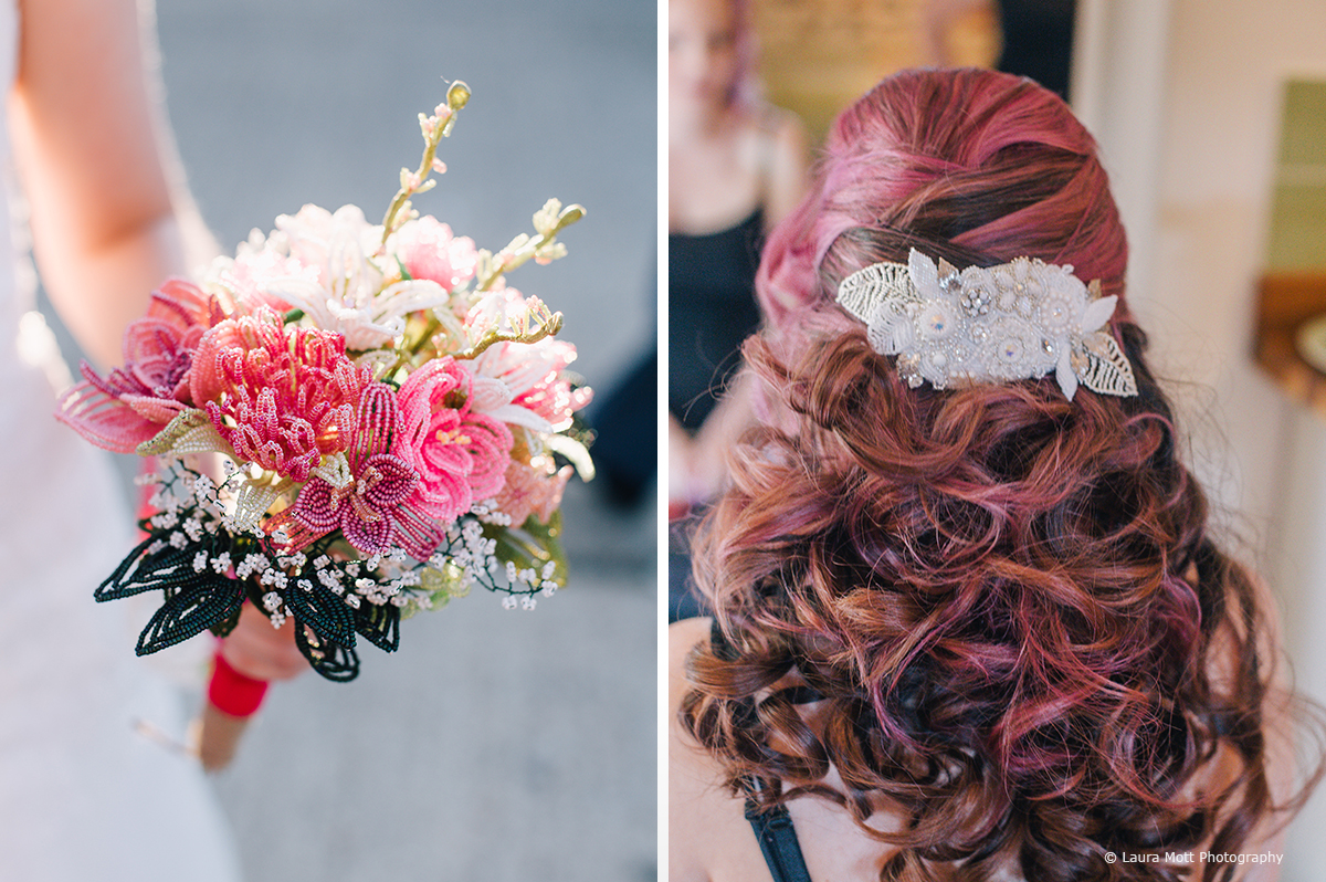 The bride chose a half-up half-down bridal hair look for her wedding day at the West Sussex wedding venue