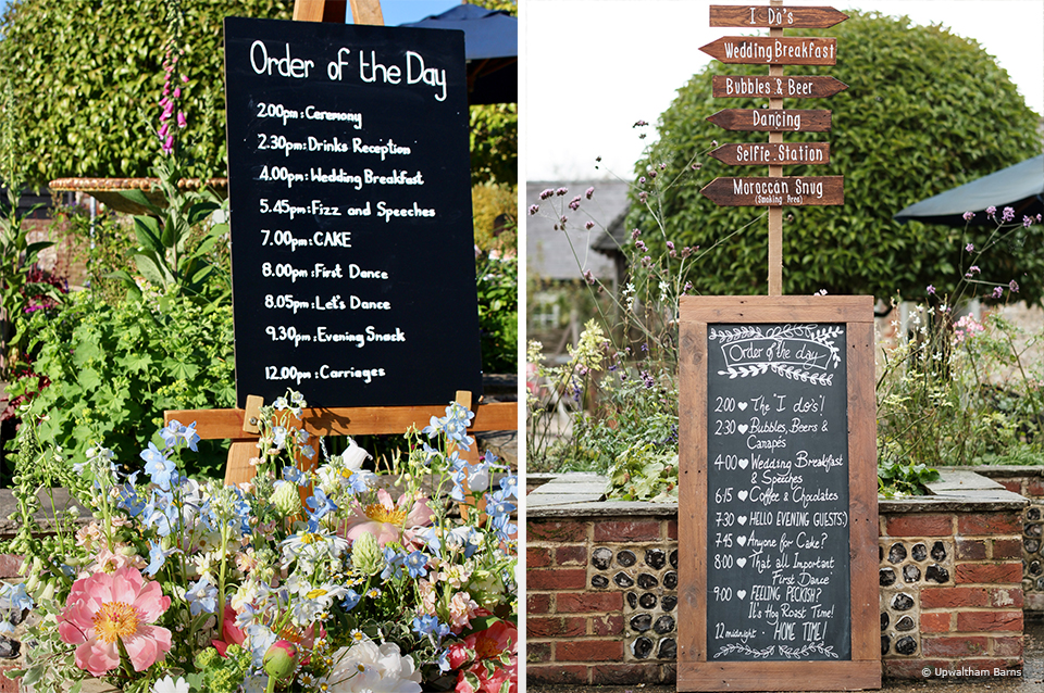 Chalkboard order of the day signs are great for weddings at Upwaltham Barns in Sussex