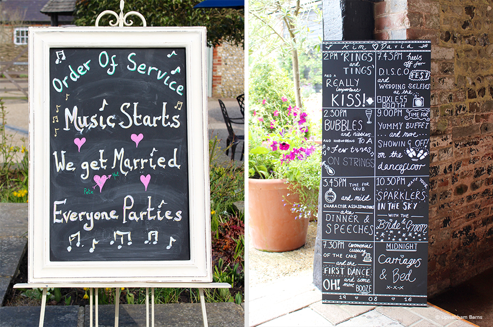 Personalise your order of the day signs to make this exclusive use wedding venue in Sussex your own