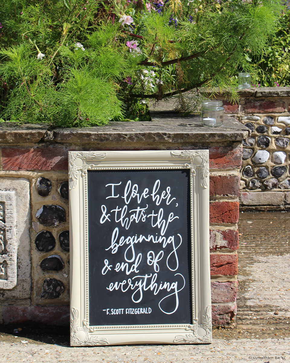 A quote within a vintage frame adds personality to weddings at Upwaltham Barns wedding venue in Sussex