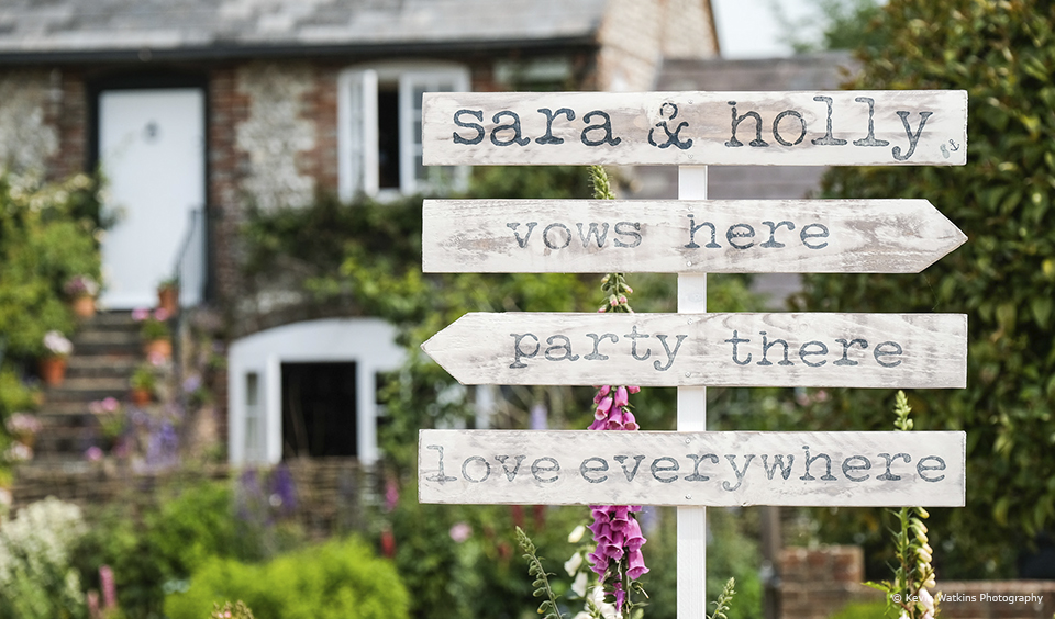 Brides often use rustic wedding signs for guide guests at Upwaltham Barns – wedding ideas