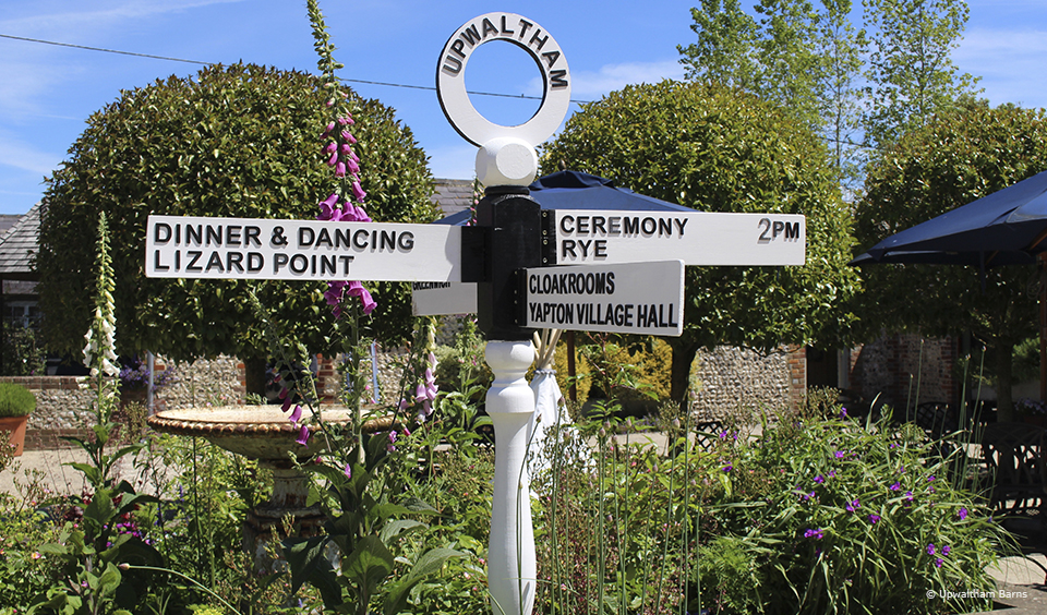 Signpost wedding signs are great for this country wedding venue in Sussex