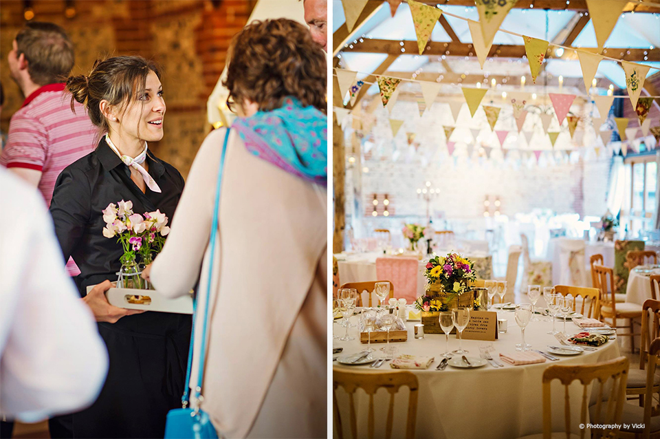 The South Barn was decorated with wedding bunting for the wedding experience evening at Upwaltham Barns
