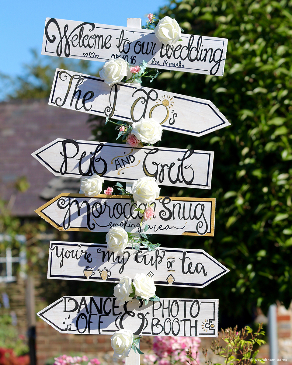 Guide your guests around this Sussex wedding venue using directional wedding signs – wedding ideas