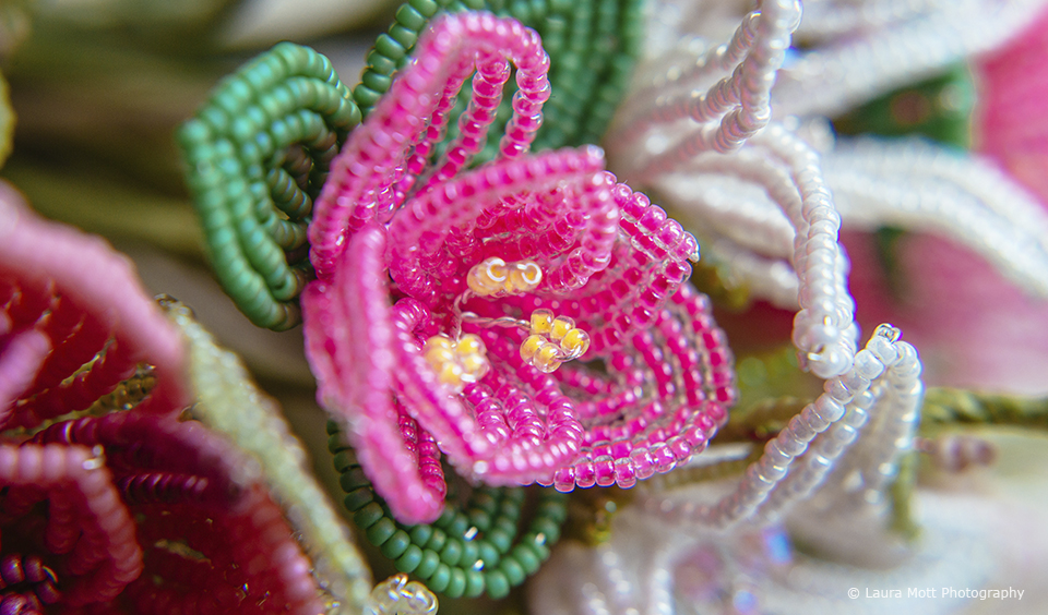 For an alternative to real wedding flowers the bride made her own beaded wedding bouquet
