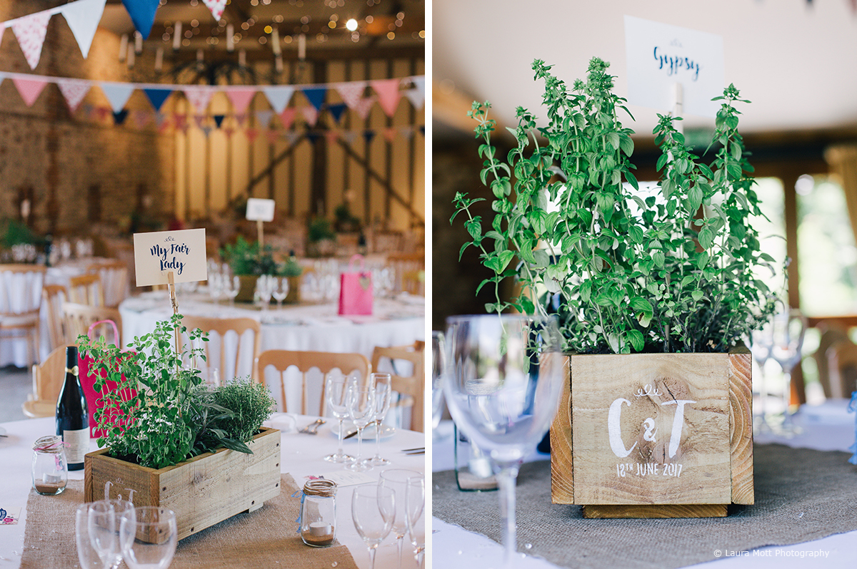 Rustic wedding table centrepieces planted with herbs were used for the wedding reception at Upwaltham Barns