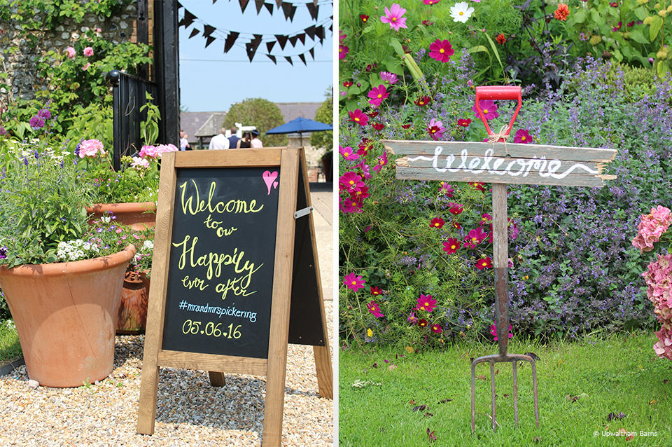 Welcome signs are a great way to welcome your guests to your wedding at Upwaltham Barns