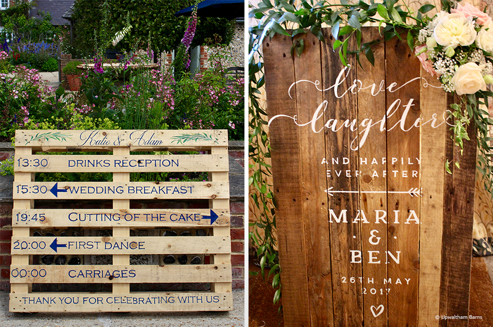 For a rustic wedding at Upwaltham Barns use wooden wedding signs