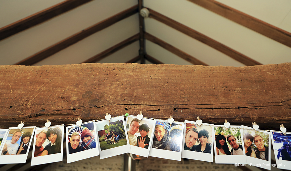 Photo bunting was used as wedding decorations at this Sussex wedding venue