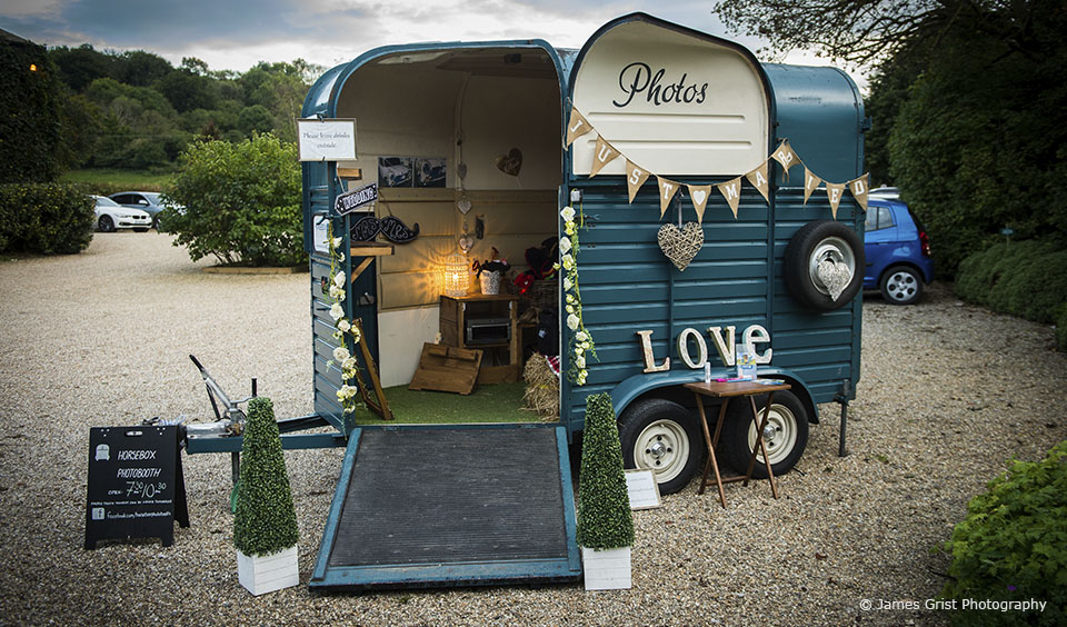 A caravan wedding photo booth was great entertainment for guests during the evening reception