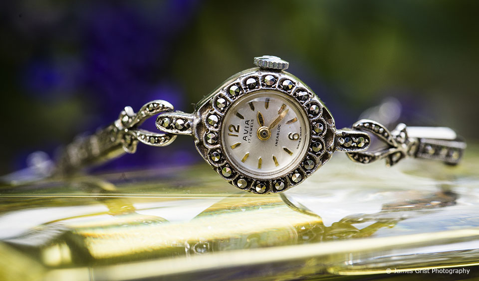 For the wedding ceremony at Upwaltham Barns the bride wore her great aunt's watch as her something borrowed