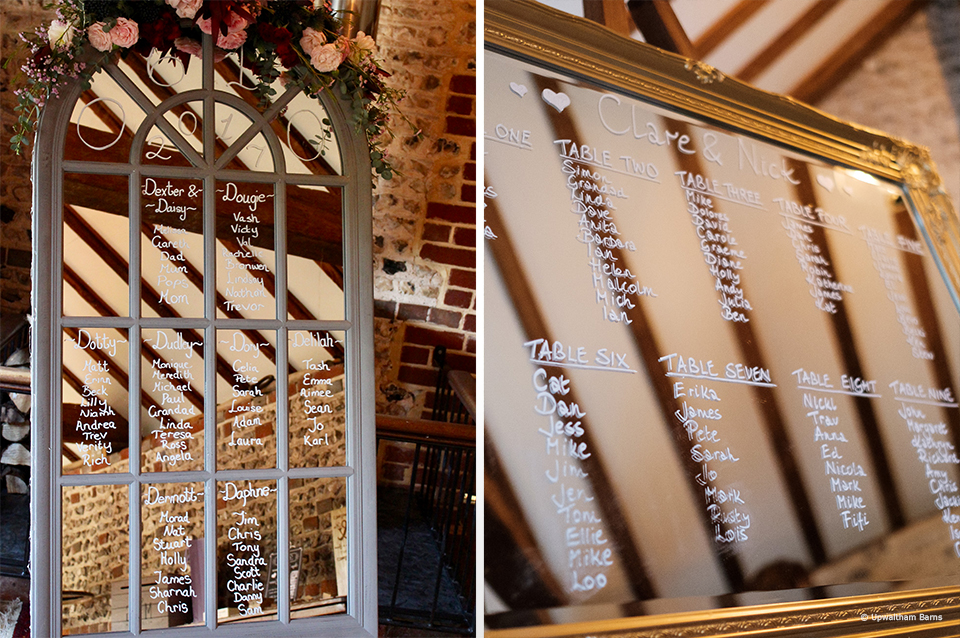 Use a mirror and write your guests names on for an elegant wedding table plan idea