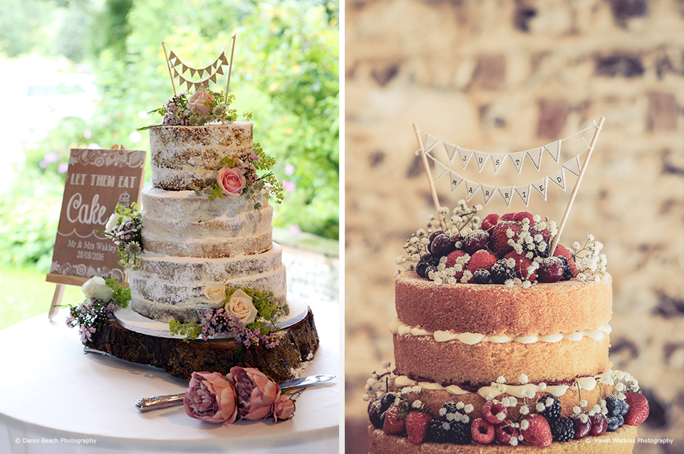 Naked wedding cakes are ideal for your barn wedding at Upwaltham Barns