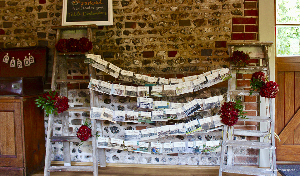 A table plan made from strings of postcards is a great travel themed wedding idea