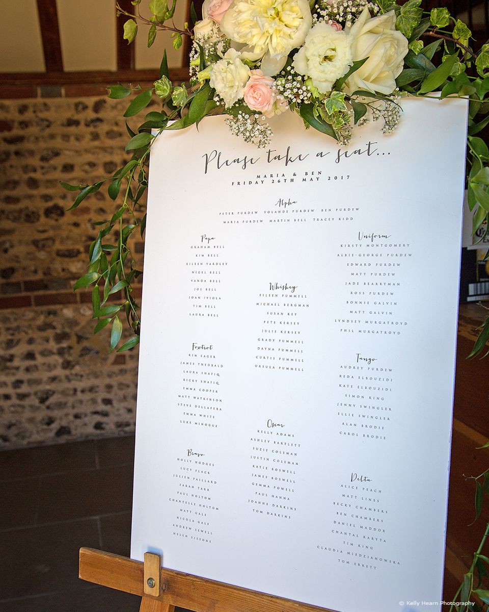 If you're looking to keep things simple for your wedding at Upwaltham Barns a printed table plan is ideal