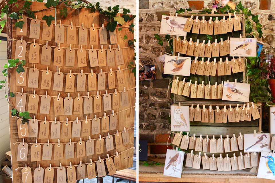 For a rustic wedding table plan idea for your wedding at Upwaltham Barns use tags pegged to string with your guests name on