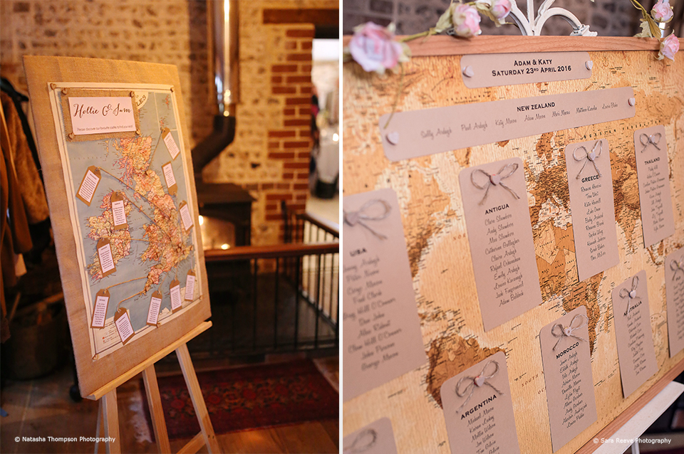 For a travel themed wedding at Upwaltham Barns a bride and groom chose a map table plan