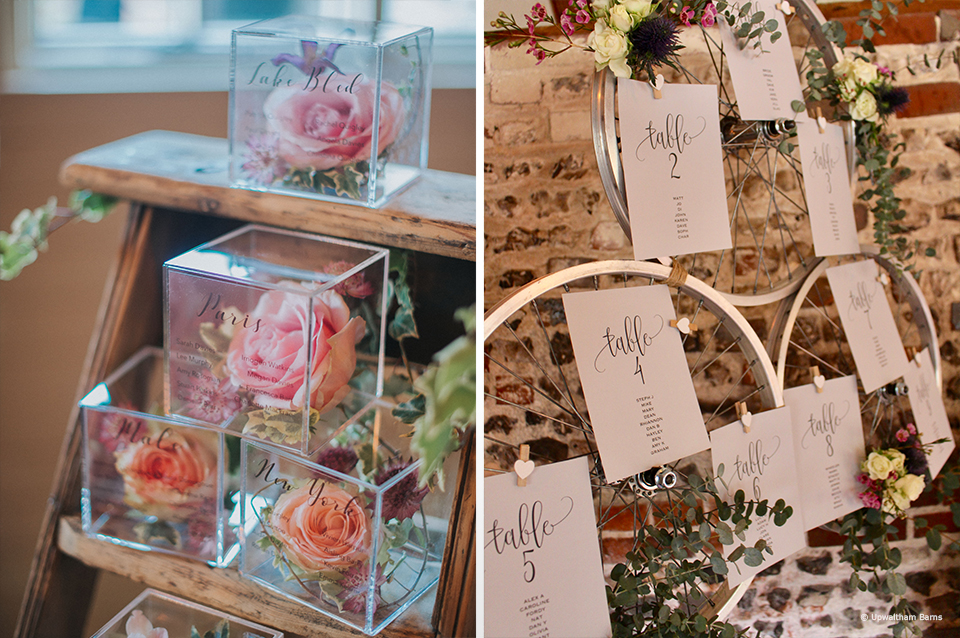 If you're planning a vintage or rustic wedding at Upwaltham Barns use props to help you create your table plan
