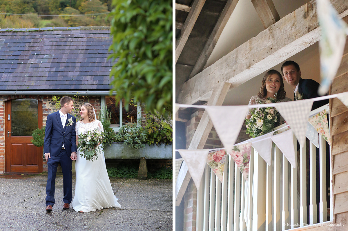 The bride and groom enjoy their rustic winter wedding day at Upwaltham Barns in Sussex