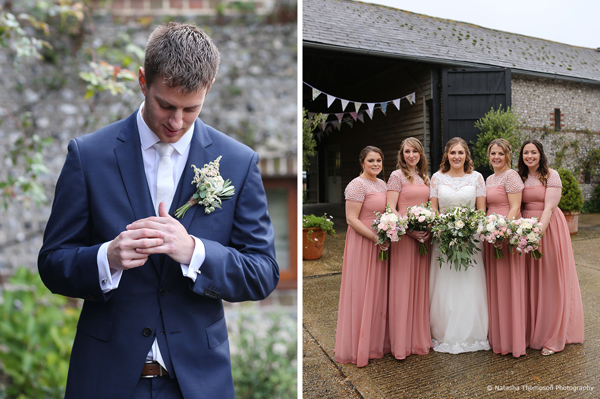 The bridesmaids wore dusky pink bridesmaid dresses for this winter wedding at Upwaltham Barns