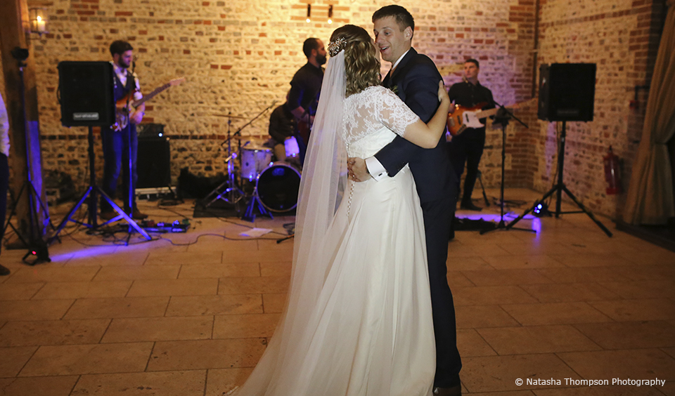 The newlyweds enjoy their first dance as husband and wife at the end of their winter wedding day at Upwaltham Barns