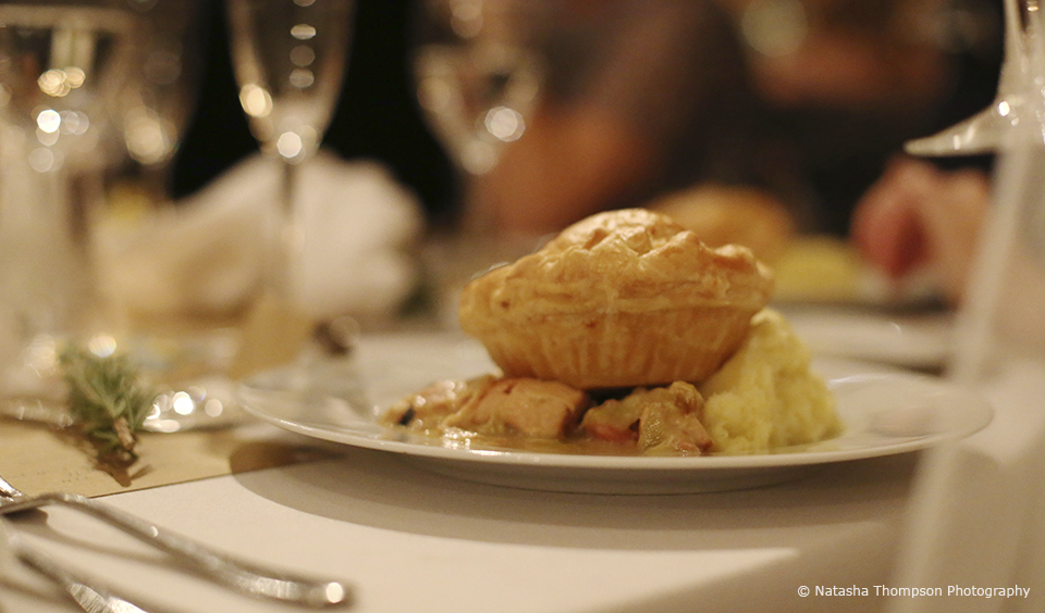 The couple served chicken pie for their winter wedding breakfast at Upwaltham Barns