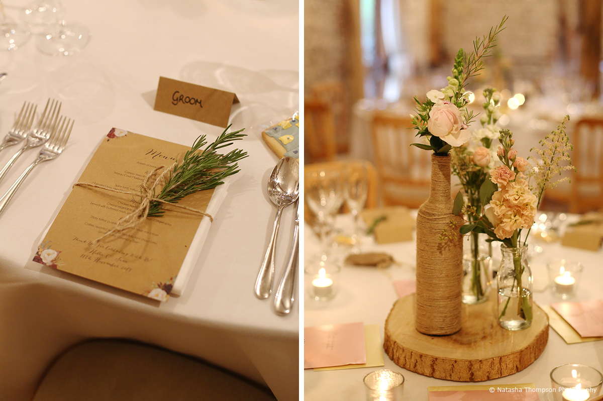 The couple decorated bottles and jars with hessian and filled with flowers to create rustic winter wedding table centrepieces