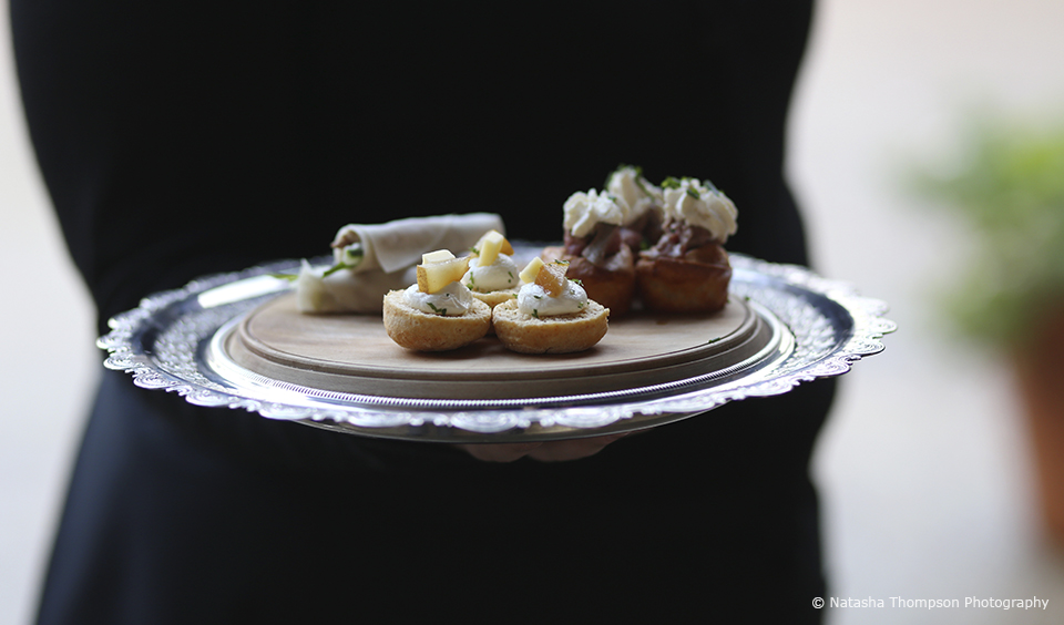 The newlyweds chose their favourite foods for their winter wedding canapes at Upwaltham Barns