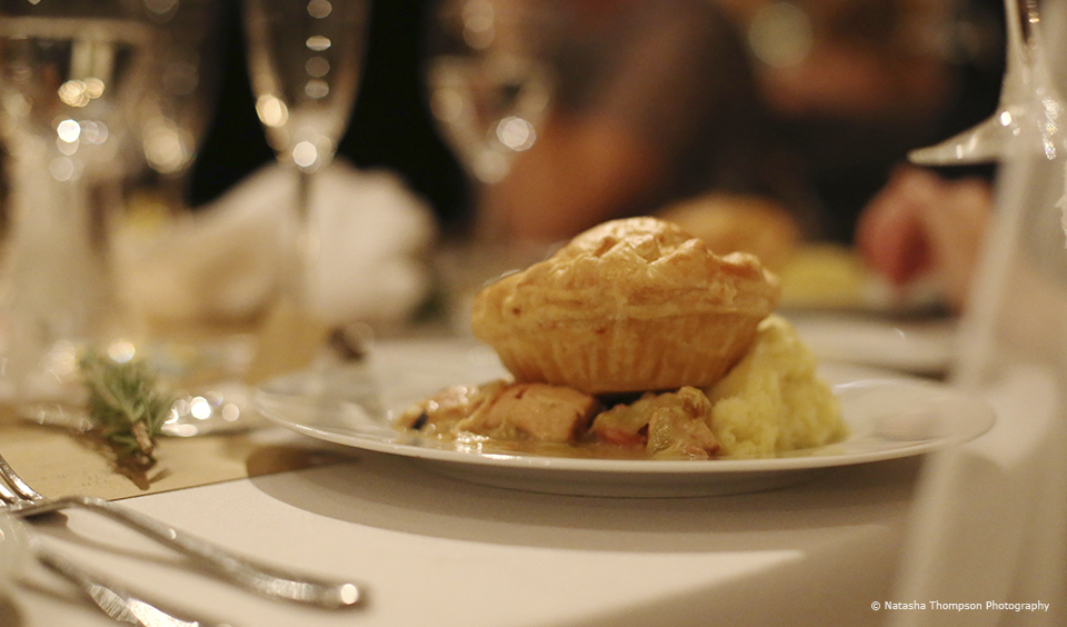 Hearty pie and mash was served for an autumn wedding breakfast at Upwaltham Barns