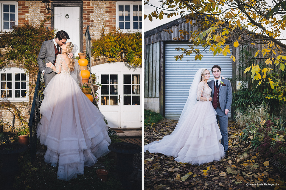 A bride and groom make the most of the autumnal scenery at Upwaltham Barns on their wedding day