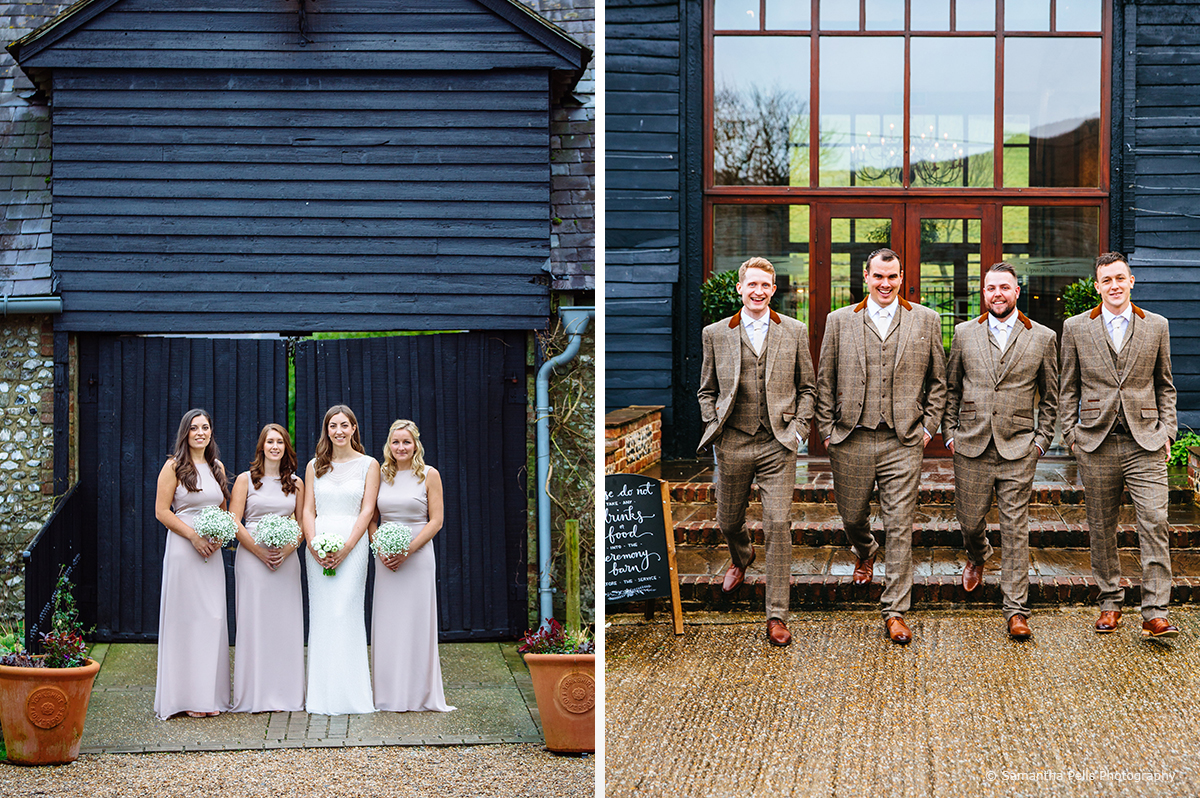 The bridesmaids wore neutral coloured dresses to go with the brides detailed gown for this winter wedding at Upwaltham Barns