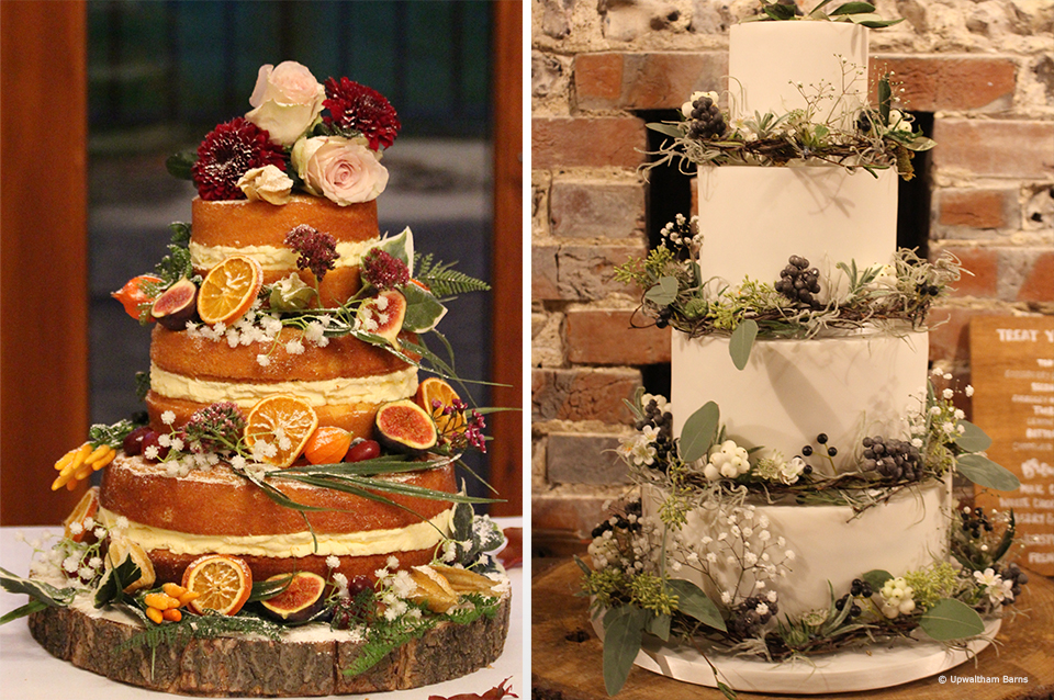 For your autumn wedding at Upwaltham Barns decorate your wedding cake with berries and greenery for a rustic look