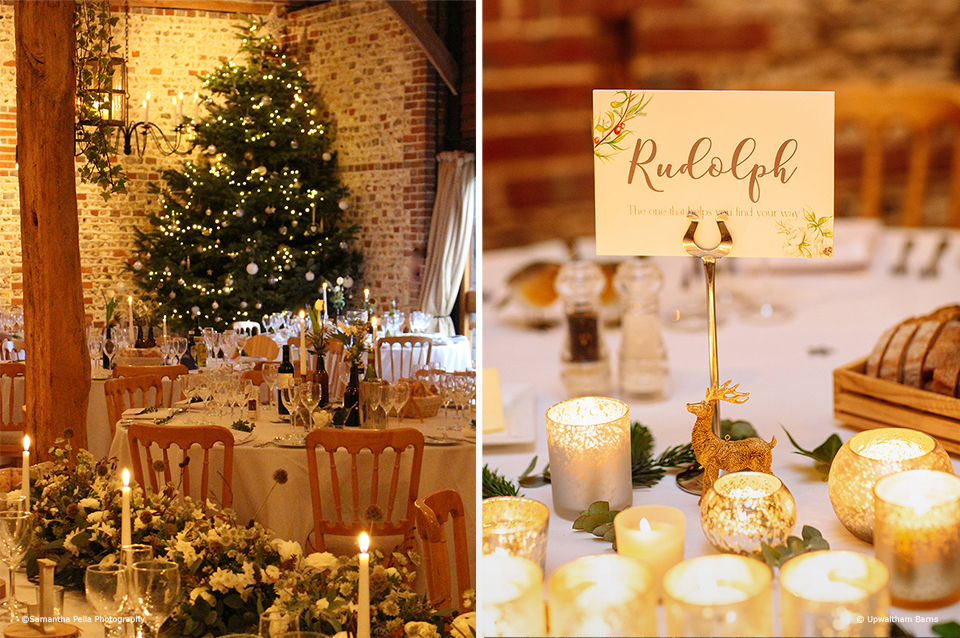 A Christmas Tree sits in the corner of the South Barn at Upwaltham Barns. A couple chose festive table names for their winter wedding at Upwaltham Barns