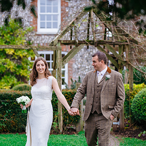 Danielle and Mark's real life wedding at Upwaltham Barns
