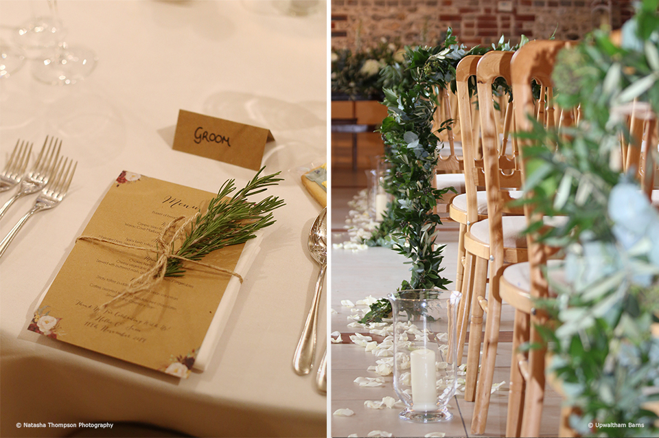 Sprigs of fir and mistletoe add a festive touch to this winter wedding at Upwaltham Barns
