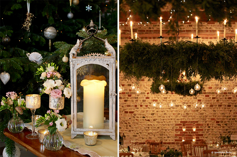 Lanterns are used as decorations for a winter wedding at Upwaltham Barns. The chandelier in the South Barn at Upwaltham Barns is decorated in foliage and candles