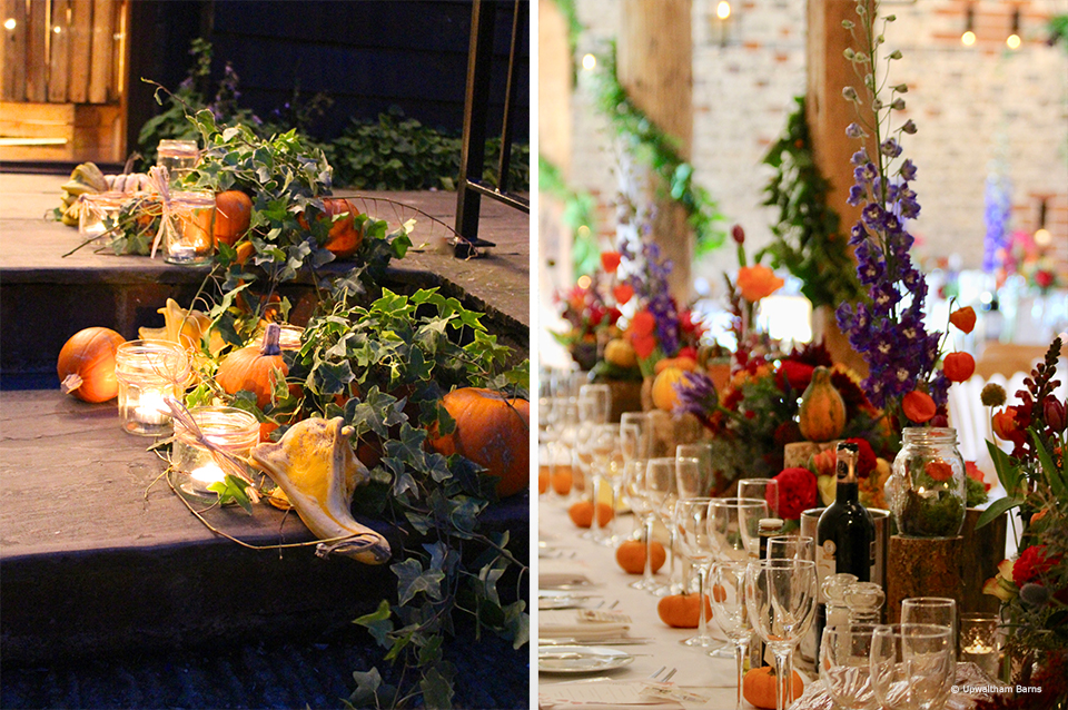 Use pumpkins for your autumn wedding at Upwaltham Barns to create seasonal table centrepieces