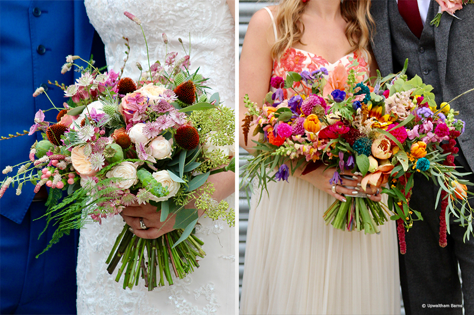 Wedding bouquets are made up of autumnal blooms for an autumn wedding at Upwaltham Barns