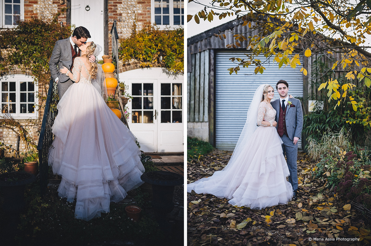 The bride and groom explore the grounds of Upwaltham Barns on their winter wedding day