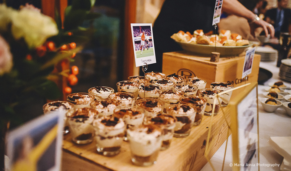 The couple served a number of desserts to end their wedding breakfast at Upwaltham Barns