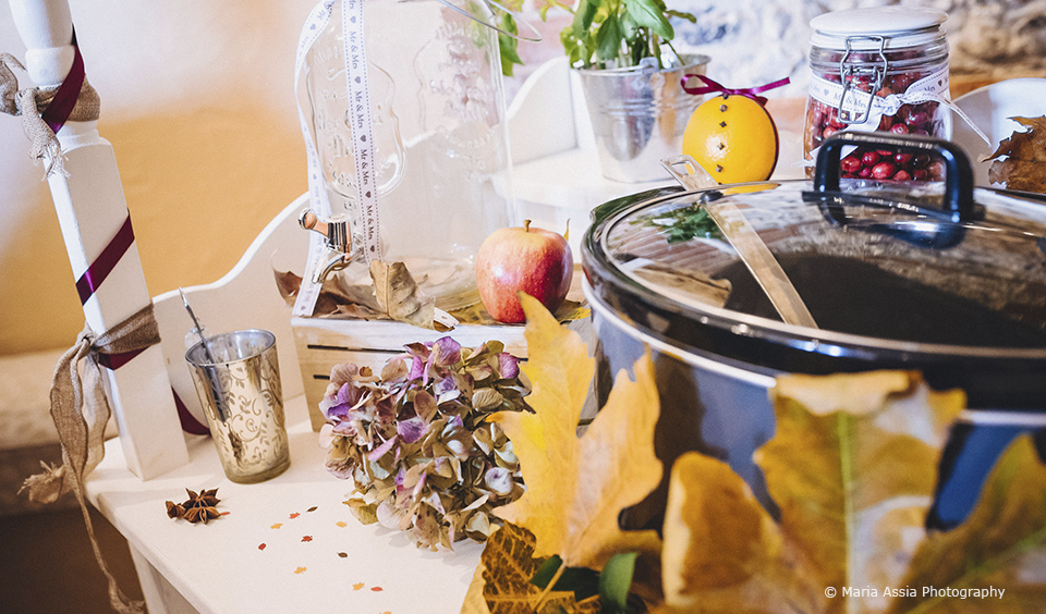 The couple had a mulled wine drinks station for their wedding reception at Upwaltham Barns