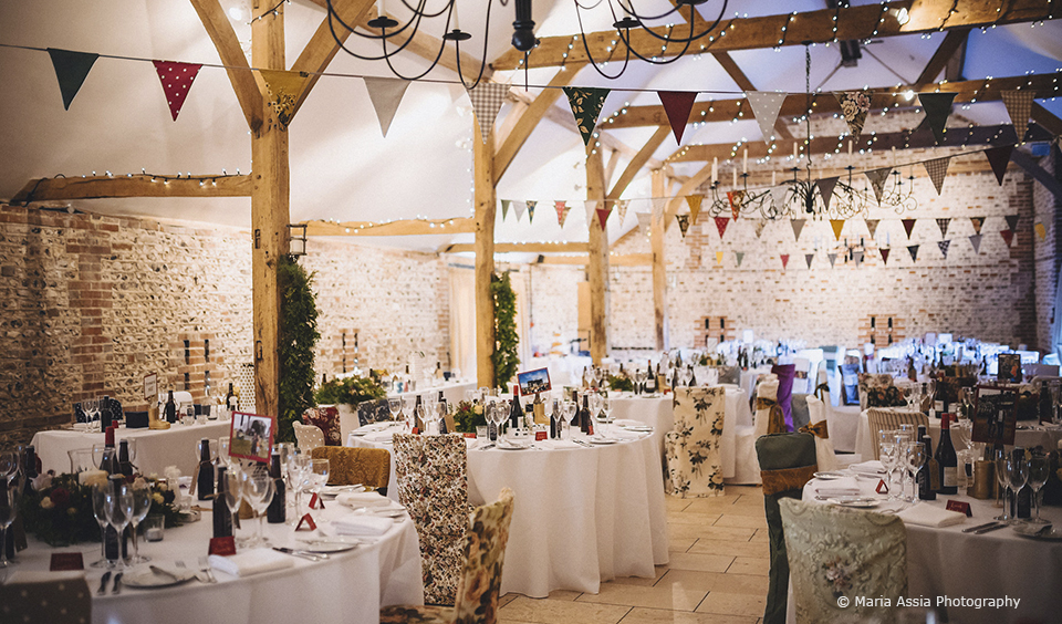 The South Barn at Upwaltham Barns is dressed for a relaxed winter wedding