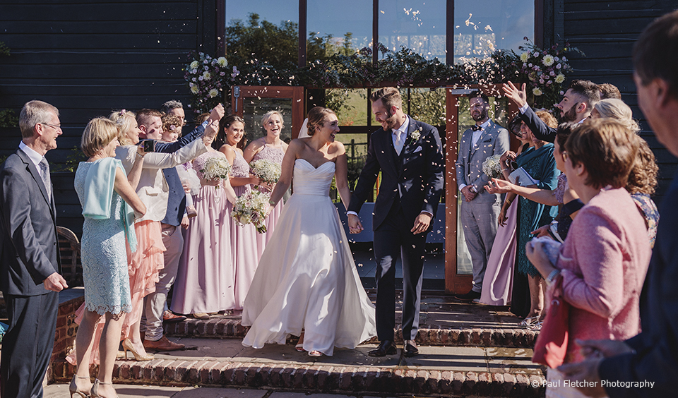bride-groom-confetti-upwaltham-barns
