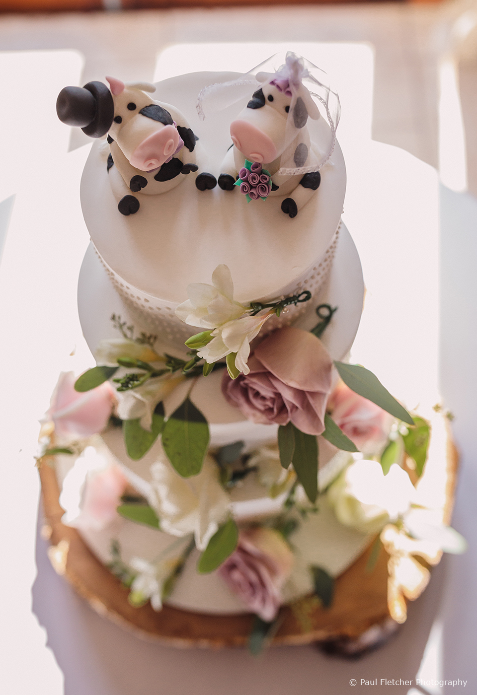 A three-tiered white wedding cake was topped with cow cake toppers for this rustic wedding at Upwaltham Barns