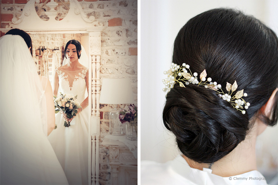The bride wore an elegant lace a-line dress for her wedding day at Upwaltham Barns