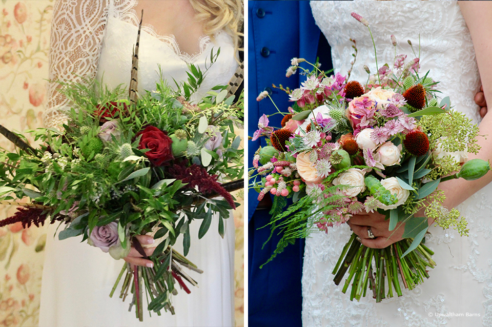 A country inspired wedding bouquet works perfectly for weddings at Upwaltham Barns