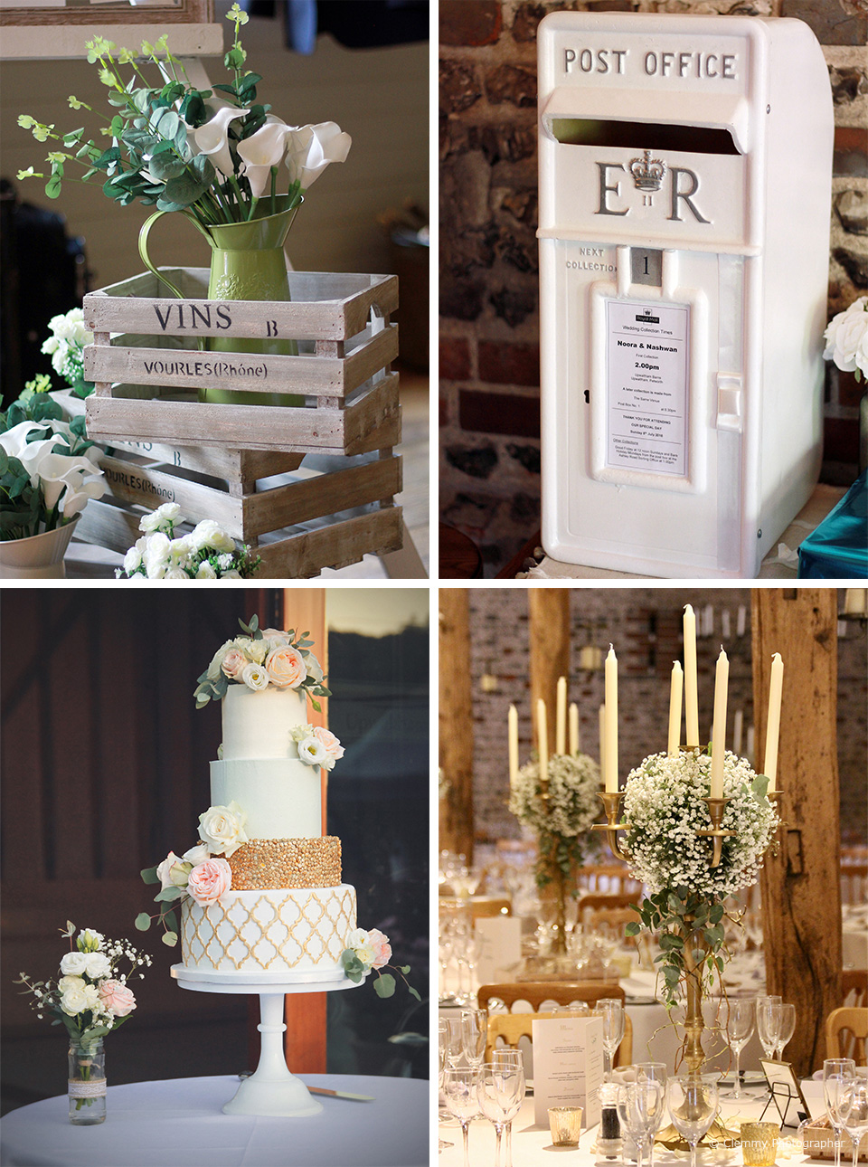 The couple chose a gold an ivory theme for their wedding at Upwaltham Barns