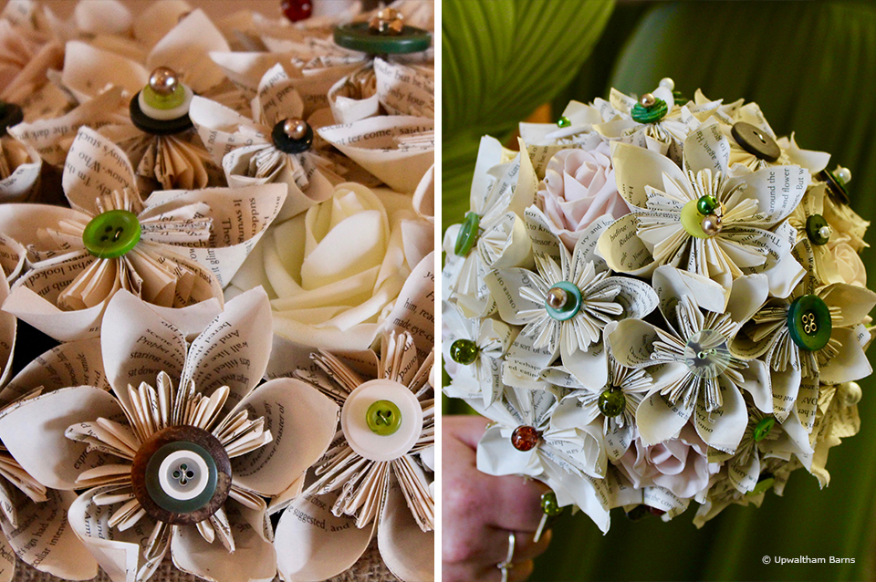 A keepsake from your wedding at Upwaltham Barns could be a handmade paper wedding bouquet
